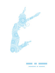 Vector doodle circle water texture jumping girl silhouette