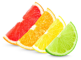 citrus slices isolated on white