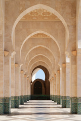 Photo sur Plexiglas Maroc Morocco. Arcade of Hassan II Mosque in Casablanca