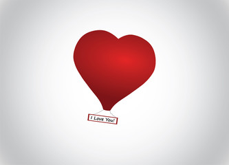 Heart text Valentine's day, hot-air baloon, vector