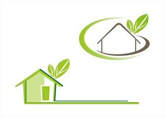Home , architecture , icon, green business logo design