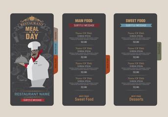 menu template.