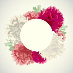 Beautiful peonies with a round label vector