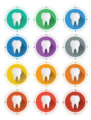 Modern flat design tooth icons set with long shadow effect