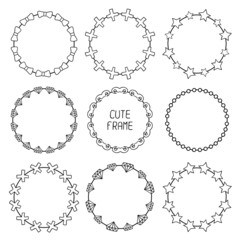 Hand drawn frames of fashion pattern with hipster elements for