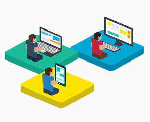 People work on digital devices in web, flat isometric style