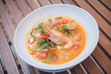 Tom Yum Goong spicy soup with shrimp,thai food