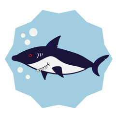 Fun cartoon shark. Vector illustration