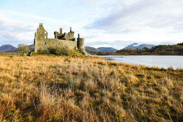The ruin of Kilchurn Castle and Loch Awe, Scotland