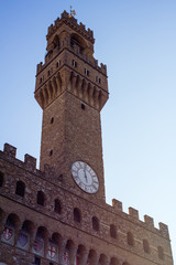 """Winter view of the tower of """"Palazzo Vecchio"""", Tuscany, Italy"""