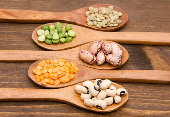 Vegetables on wooden spoons on wooden table