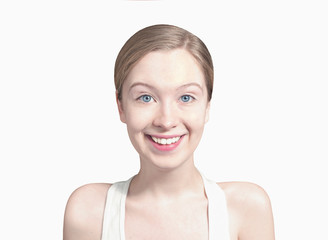 Girl on white background looking into camera with a smile
