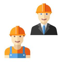 engineer worker flat avatar set