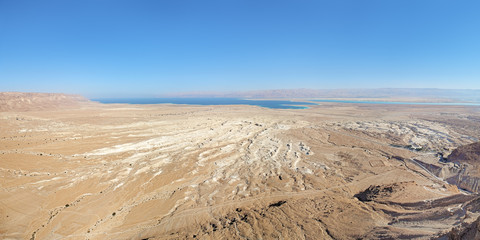 View of Dead Sea from Masada fortress, Israel