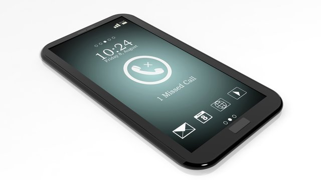 Smartphone with missed call notification on screen