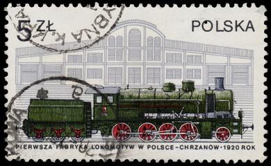 Stamp printed in Poland shows steam locomotive