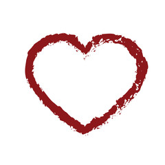Drawn Red Heart. Vector Illustration.