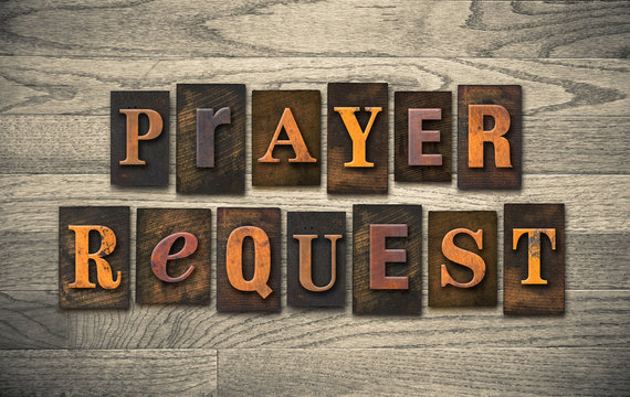Prayer Request Wooden Letterpress Concept