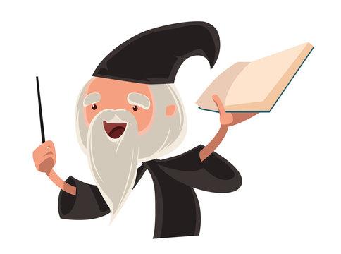 Great wizard old man vector illustration cartoon character