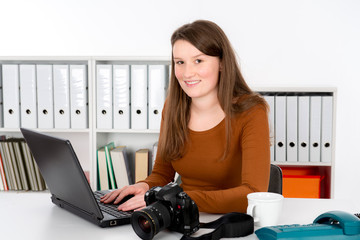 young reporter in editorial office