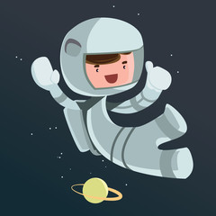 Astronaut scientist space vector illustration cartoon character