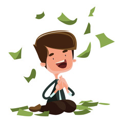 Raining money happy man sitting illustration cartoon character
