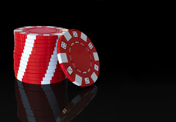 red casino poker chips stack