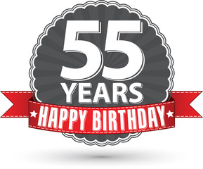 Happy birthday 55 years retro label with red ribbon, vector illu