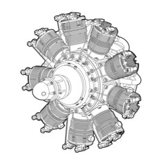 Radial cylinder engine. Vector illustration isolated on white background.