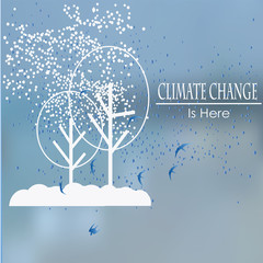 change climate, white trees and snow over  blue blur background