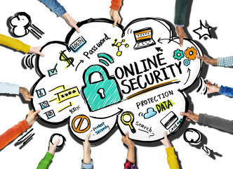 Online Security Protection Internet Safety Support Team Concept