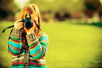 Caucasian Girl with Camera