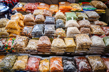 Dried fruits and nuts for sale at Gwangjang Market in Seoul
