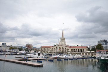 Sea port of Sochi in the september day.