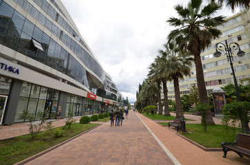 Cityscape of Sochi, Navaginskaya street, pedestrian boulevard