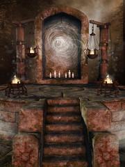 Kamienna świątynia z pochodniami i świecami