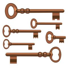 Old keys. Vector Illustration