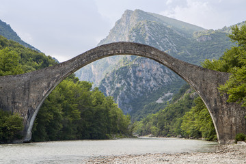 Historical stone bridge of Plaka at Epiros, Greece