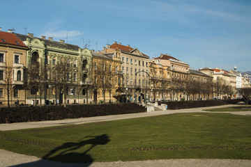 Promenade on King Tomislav Square in Zagreb, Croatia