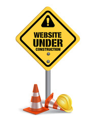 Website Under Construction Sign in White Background