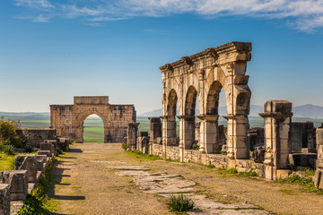 The Decumanus Maximus and the Triumphal Arch, Volubilis, Morocco