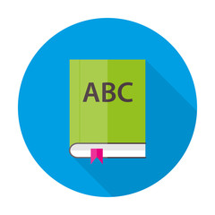 English ABC book flat circle icon