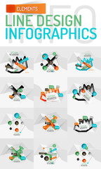Set of modern abstract business geometric infographics