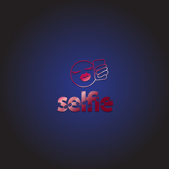 Taking A Selfie - Isolated On Blue Background - Vector Illustration, Graphic Design, Editable For Your Design