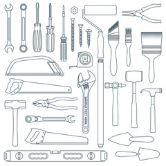 vector dark grey outline various house remodel instruments set.