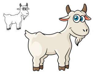 Cartoon horned farm goat