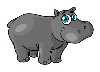 Cute cartoon baby hippo with blue eyes
