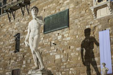 Fototapete - Michelangelo's replica David statue. Florence, Italy