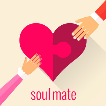Heart in the form of a puzzle. Soul mate