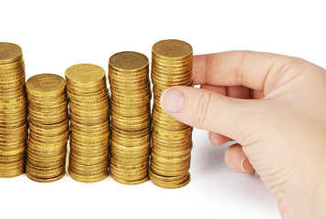 Money stack in hand  isolated on white background